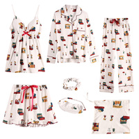 Snoopy 7 Piece Set Bow Tie Lapel Neck Sleepwear Long Section Printed Shorts Eye Mask Comfort Pajamas Домашняя Одежда