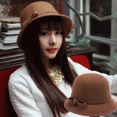 Bow Bowler Hat Female Korean Imitation Wool Winter Autumn Basin Cap, Fisherman Hat Vintage Felt Hat