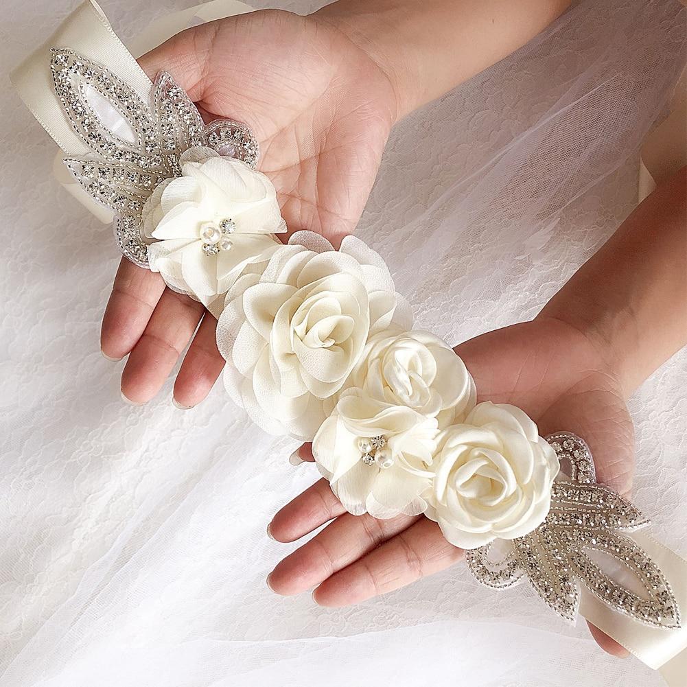 Pearl Accessories Ornaments Crystal Bridal Dress Wedding Belt Waistband Elegant Simulated Rose Beaded Blossom Rhinestone Flower
