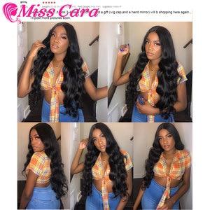 Image 5 - Перуанские волнистые пучки с фронтальной 100% человеческими волосами, 3/4 пучков с фронтальной Miss Cara, пупряди волос Remy с фронтальной