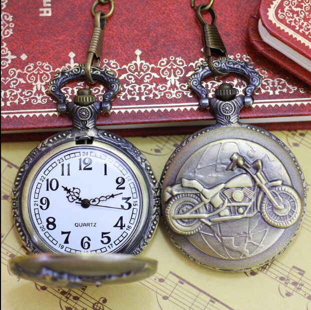 Fashion golf Bronze In Europe Horse Quartz Pocket Watch Analog Pendant Necklace Mens Womens Gift Y4889