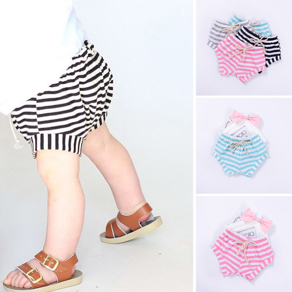 Toddler Infant Kids Baby Girls Boys Striped Shorts Summer Bloomers Outfits Girls&Boys  Regular Cotton Blend Striped  Fashion