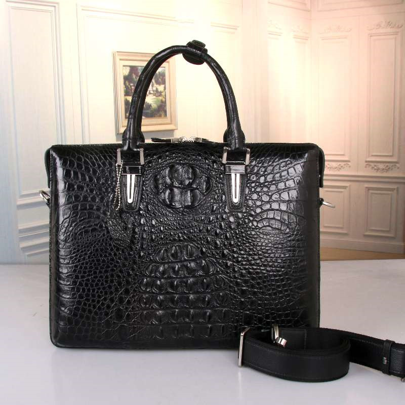 High-end Genuine Real Alligator Skin Leather Businessmen Large Black Portfolio Briefcase Handbag Male Single Cross Shoulder Bag