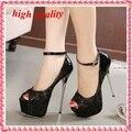 Туфли на высоком каблуке ну вечеринку обувь женщина секси открытым носком платформы женщины высокие каблуки черный белый свадебные туфли для женщин Y563
