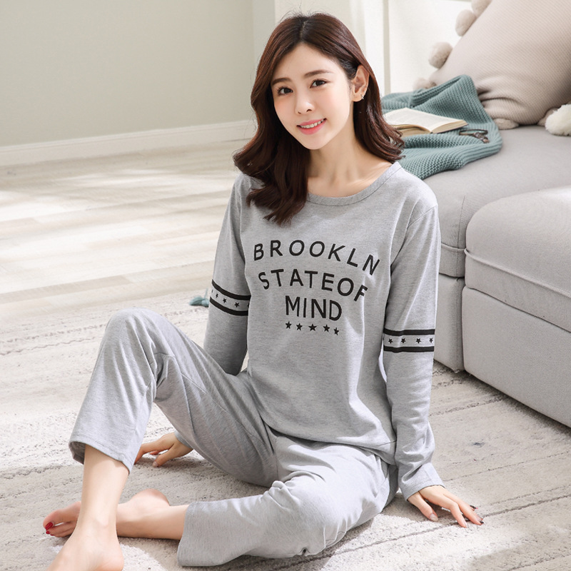2019 Women Pajamas Sets Autumn Winter New Women Pyjamas Cotton Clothing Long Tops Set Female Pyjamas Sets NightSuit Mother Sleep 123