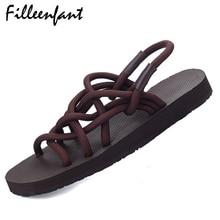 Sandalias de Gladiador plana de Las Mujeres Zapatillas de Verano Las Mujeres Diapositivas Pareja Amante Zapatos de Una Pieza Zapatillas Damas de Gran Tamaño Beach Diapositivas