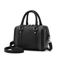 New Brand Women Handbag Design Solid Boston Bag PU Leather Casual Tote Bag Female High Quality