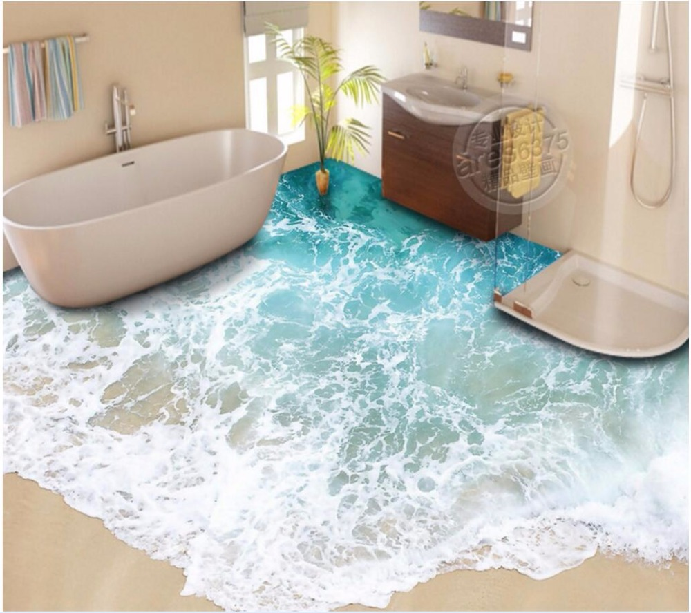 Custom mural 3d flooring Beach wave floor stickers room decor painting pvc self adhesive picture 3d wall murals wallpaper free shipping 3d carp lotus pond lotus flooring painting tea house study self adhesive floor wallpaper mural
