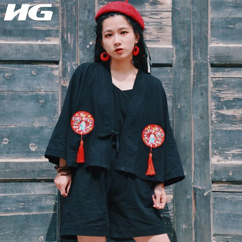 HG 2019 automne nouveau Cardigan gland broderie Kimono femmes Folk personnalisé Cardigan coton et lin manteau Top femmes 2019 ZYQ1051