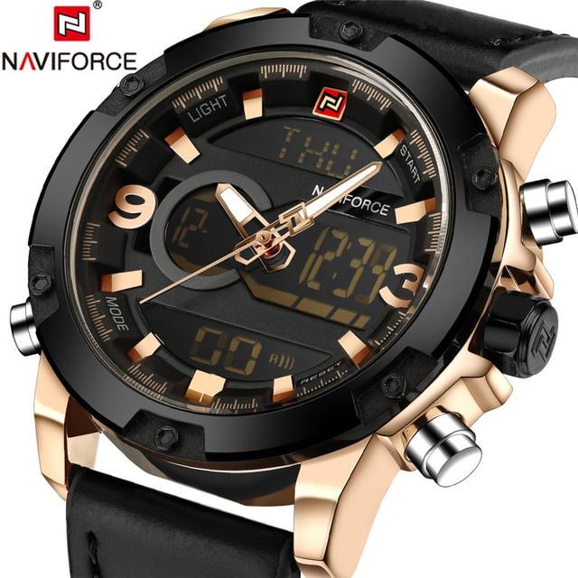 2018 Mens Gold Watches Men Watch Digital Sport Top Brand Luxury MilitaryLeather