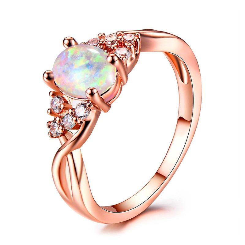 2018 2018 Female Oval Finger Ring Fashion White Blue Fire Opal Stone
