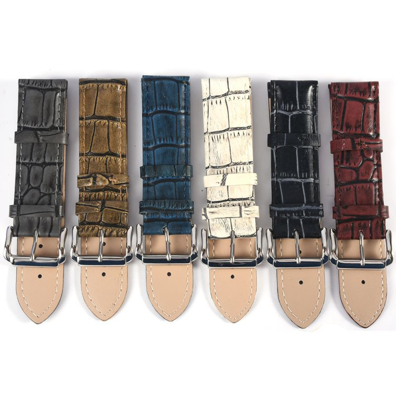 Crocodile Pattern Luxury Leather Wristwatch Strap Buckle Watch Band Belt Accessories 6 Colors
