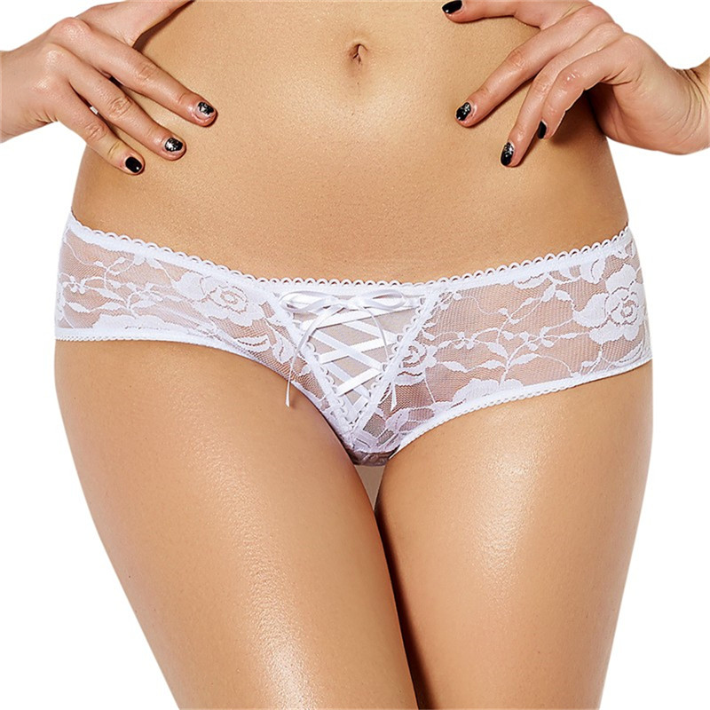 Ablithe Plus Size Crotchless Lace Thongs Four Color Solid Underwear Women Lace Hot Sale Panties Thong Lingerie