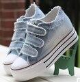 2017 Nuevos Zapatos de Las Mujeres atan para arriba los zapatos de lona casuales las mujeres zapatos de plataforma primavera verano mujer denim