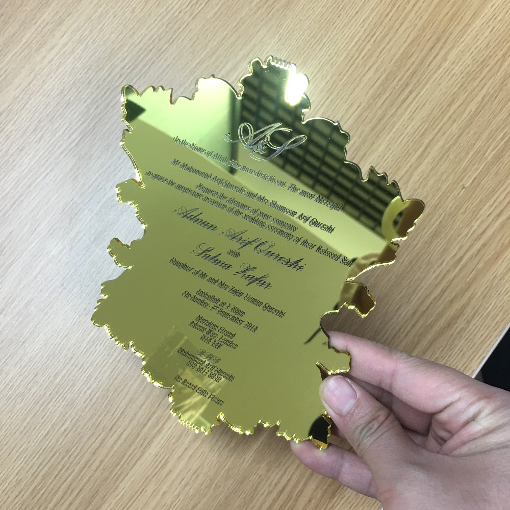 Us 90 0 50pcs Mirror Gold Elegant Acrylic Invitation Card With Customize Size And Shape Wedding Invitations Cards Colorful Printing In Cards