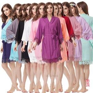 Image 3 - Cotton Robe  Lace Robe bride robe Kimono Bridesmaid Robes Bridal Party Robe  women pajamas sleepwear A300A