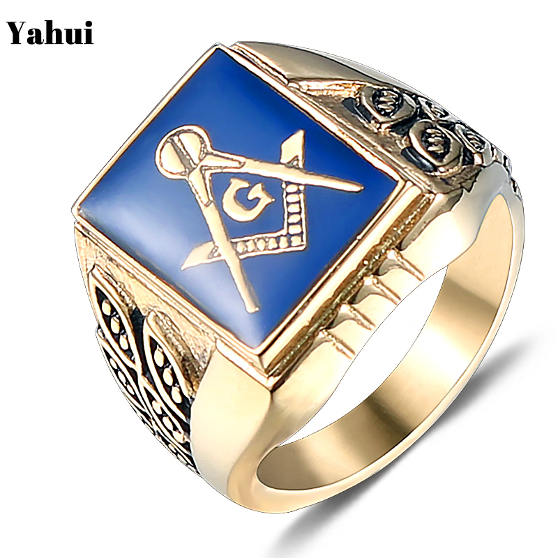 YaHui stainless steel gold finger ring leaf ring Blue glue tungsten Masonic simple ring high quality Punk jewelry accessories in Rings from Jewelry Accessories