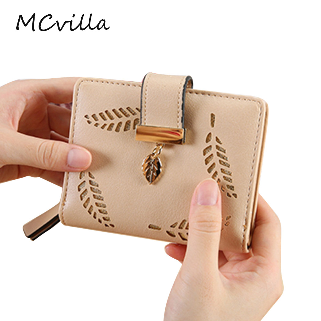 Fashion New Women Hollow Leaf Zipper Hasp Clutch Bag Card Girls Wallet Coin Purse Brand Mcvilla 2pcs lot new fashion animal 3d cat dog printing coin purse 100% polyester zipper wallet brand women bag monederos wallet