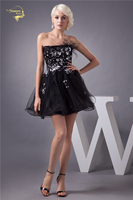 Jeanne Love Sexy Organza And Tulle Short Cocktail Dress 2018 Formal Black Sequins Mini Wedding Party