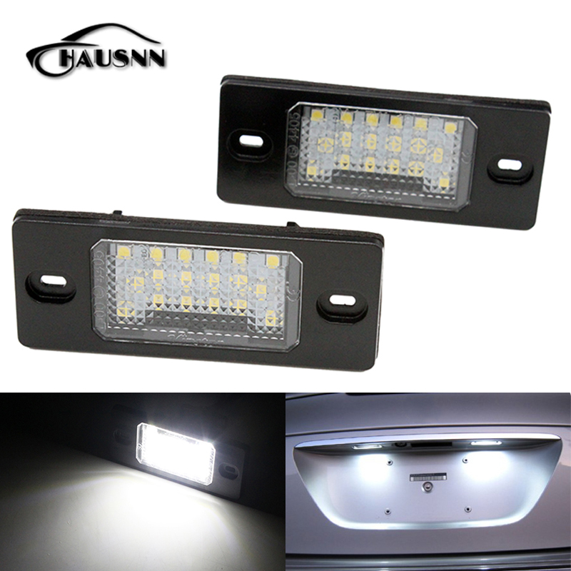 2Pcs/Set HAUSNN Canbus Error Free White 18SMD LED Number License Plate Lights For VW Touareg Tiguan Golf 5 Passat B5 4pcs super bright t10 w5w 194 168 2825 6 smd 3030 white led canbus error free bulbs for car license plate lights white 12v