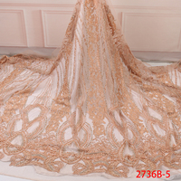 High Quality Embroidery Tulle Lace African Lace Fabric Net Beaded Lace Fabrics 2019 Luxury Lace Fabric for Wedding AMY2736B