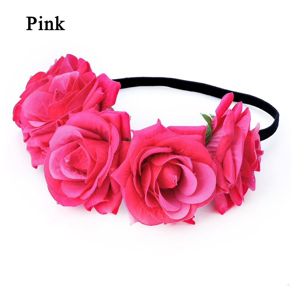 Okdeals 1PC Fashion Bohemia Style Rose Flower Headbands Floral Crown Hairband Wedding Hair Garland Bridal Girls Hair Acessories 7