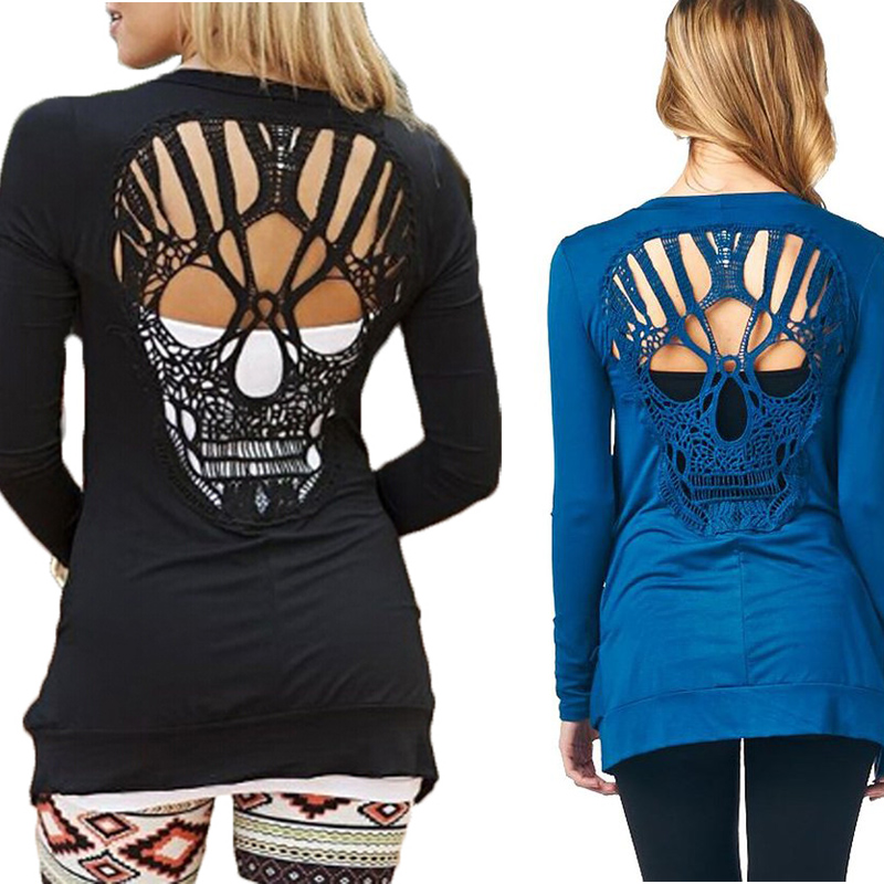 Skull Lace Cardigan Hollow Out Long Sleeve Knitted Summer Blouse Shirt Plus Size 3XL