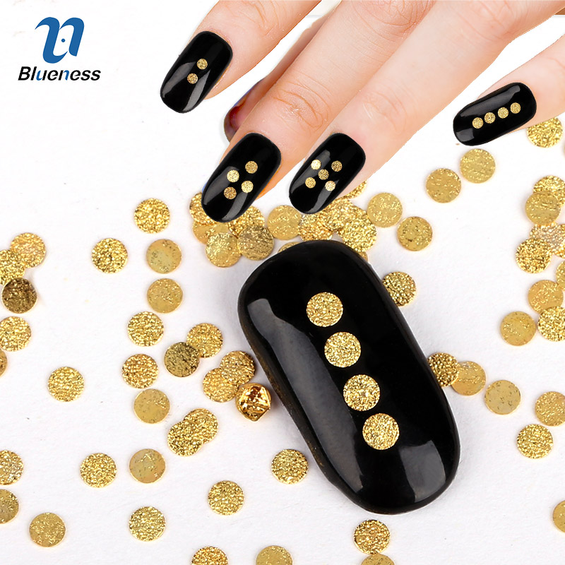 3dマニキュアゴールド合金スタッド爪diy接着剤アクセサリーチャームグリッターラウンドマット銅パンケーキネイルアート装飾PJ548