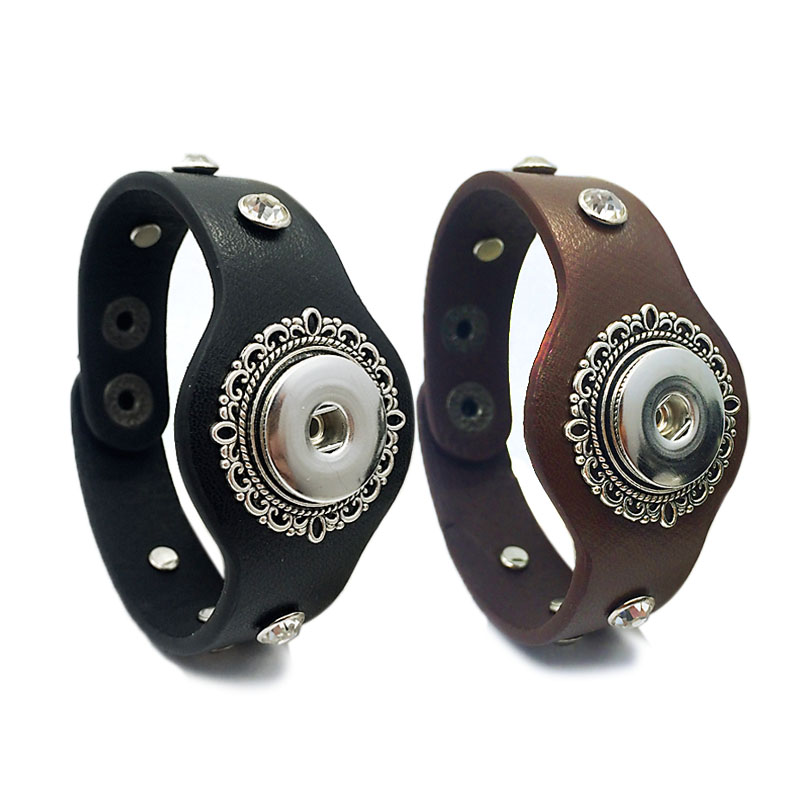 Interchangeable Rhinestone 235 Real Original Genuine Leather Retro fashion 18mm Snap Button Bracelet Charm Jewelry for women men in Charm Bracelets from Jewelry Accessories