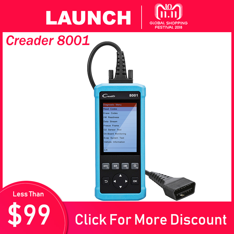 OBD2 Scanner Launch CReader 8001 Car Code Reader Full OBDII/EOBD Auto Diagnostic Scanner Tool with ABS/SRS/EPB/Oil Service launch full obd2 code reader scanner creader 3001 obdii eobd car diagnostic tool in russian cr3001 pk al319 al519 om123