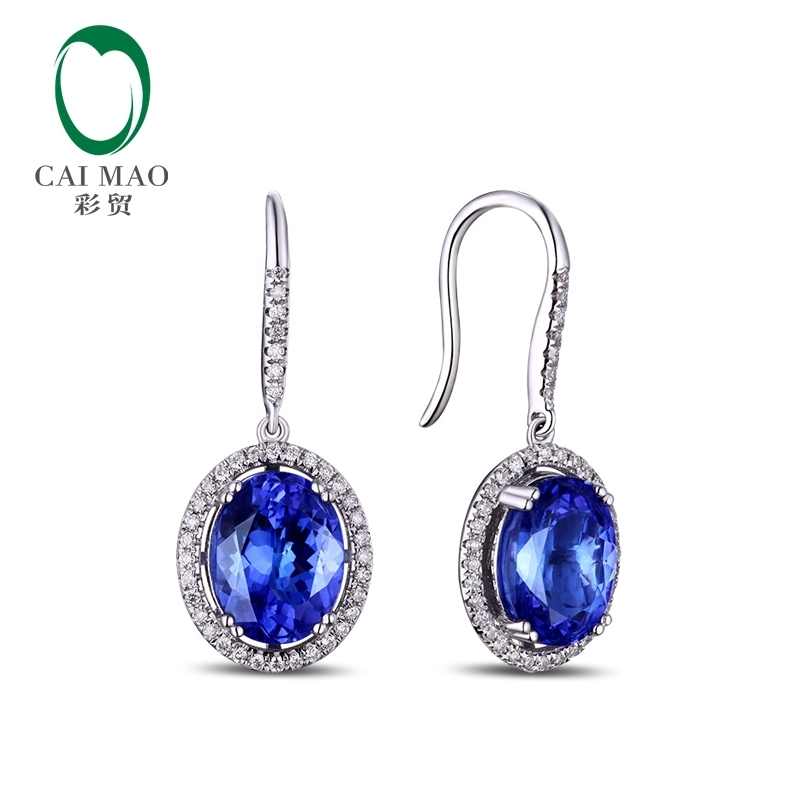 CaiMao 14KT/585 White  Gold 4.89 ct Natural IF Blue Tanzanite AAA  0.48 ct Full Cut Diamond Engagement Gemstone Earrings Jewelry