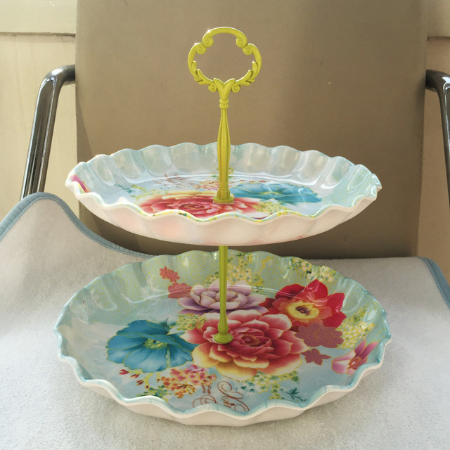 2 tiers decoration flower plastic cake stand cake pan fruit plate West pallet & 2 tiers decoration flower plastic cake stand cake pan fruit plate ...