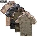Verano coolmax hombres de la camiseta de camuflaje al aire libre uniforme de combate del ejército militar camo caza táctico t-shirt de secado rápido clothing camisetas