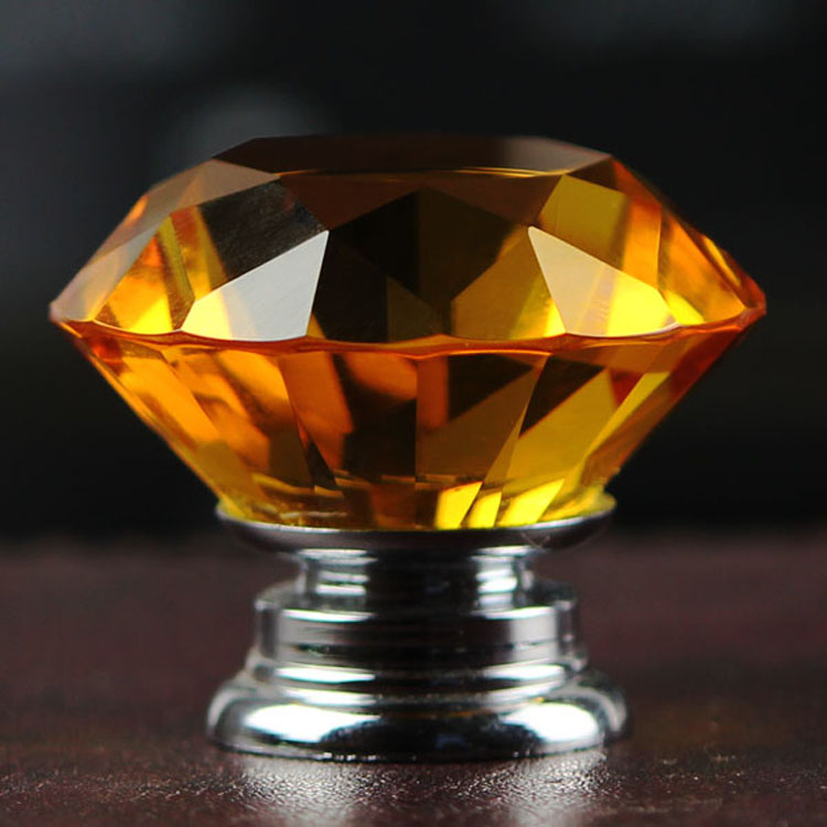 New Amber Color Crystal Glass Pull Drawer 1pcs/30mm Diamond Door ...