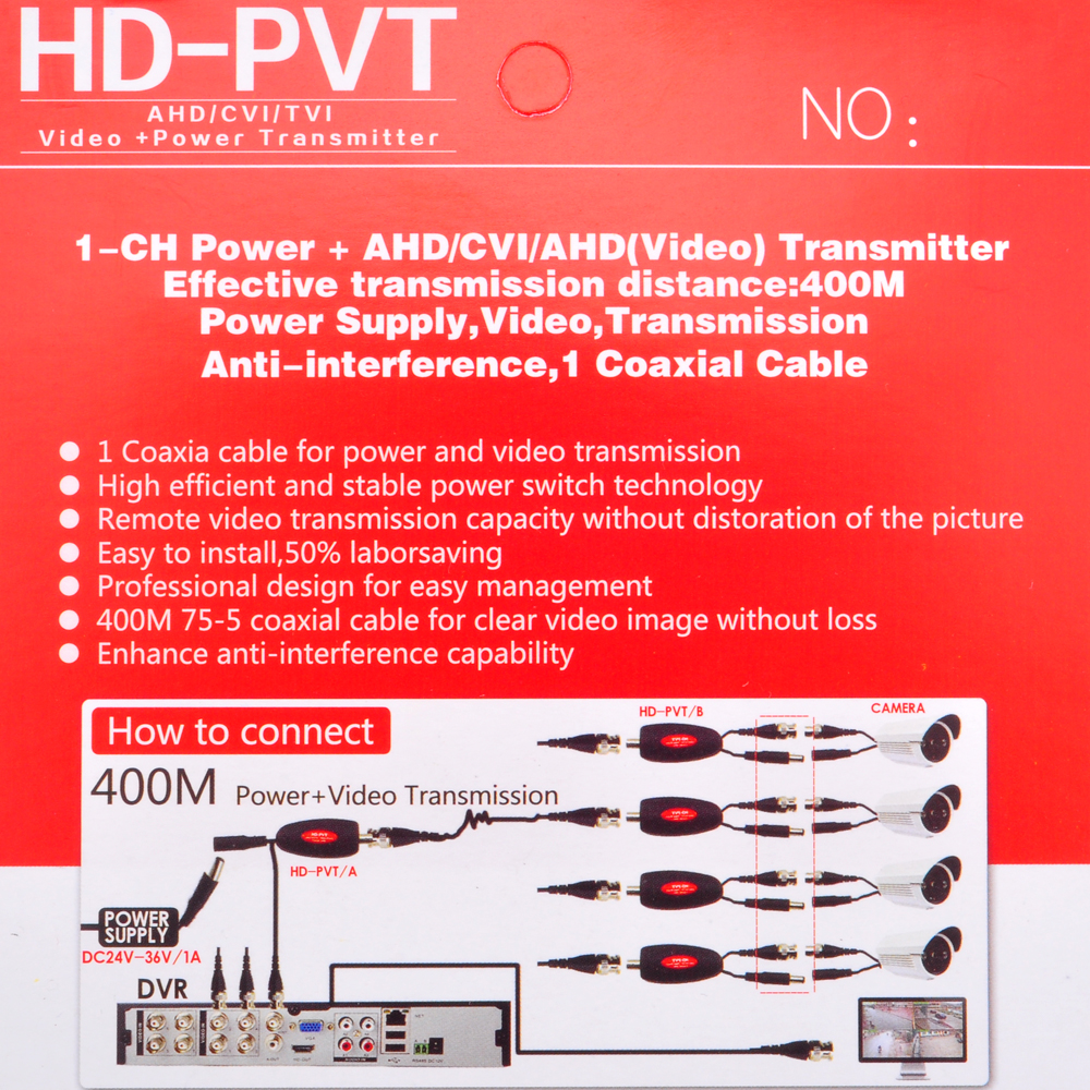 Image 5 - ESCAM AHD CVI TVI CCTV Camera Power Video Transmission Via One BNC Video Cable Up to 400M HD PVT Power Video TransmitterTransmission & Cables   -