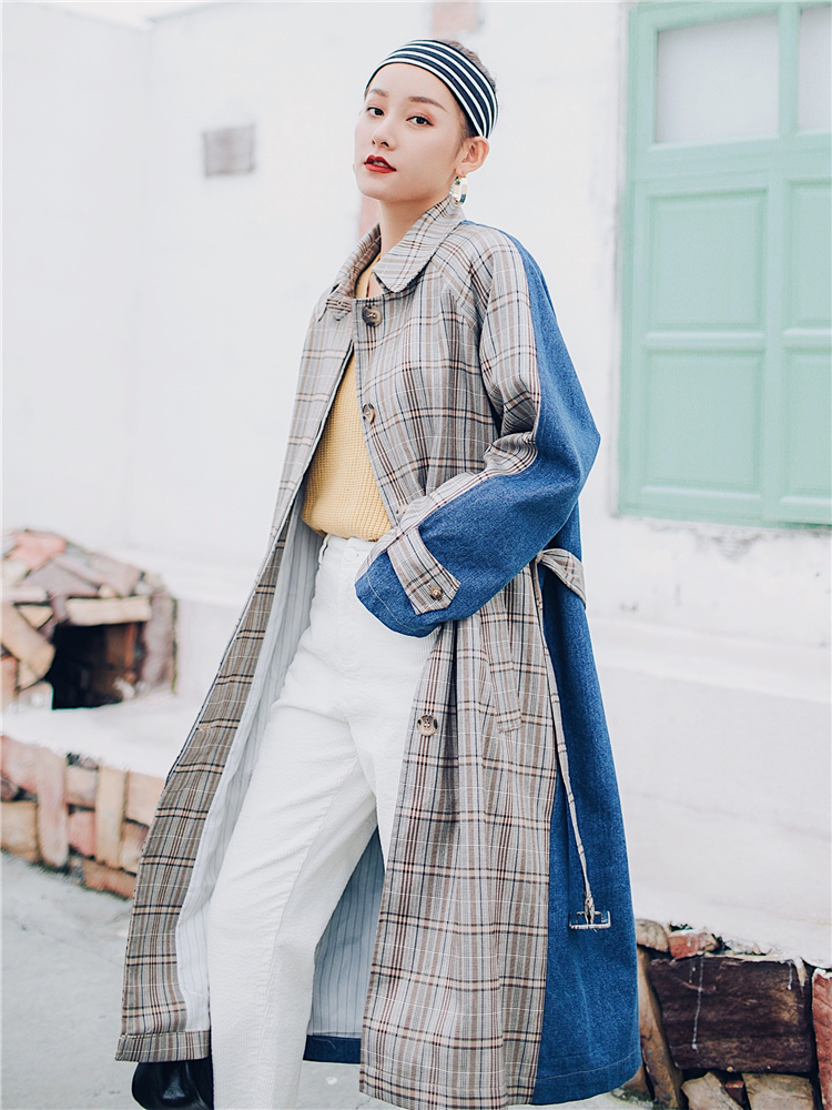 Hot Windbreaker Knee-Crossing Female Overcoat Belt Casual vintage long oversize laid patchwork   trench   coat women