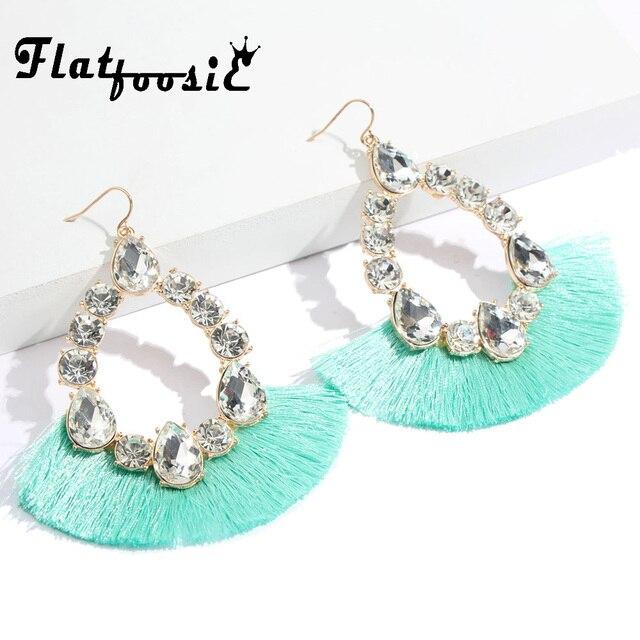 Flatfoosie Bohemia Tassel Water Drop Earrings For Women 2018 New Vintage  Large Crystal Long Dangle Earring Fashion Party Jewelry e56336b7f2a9