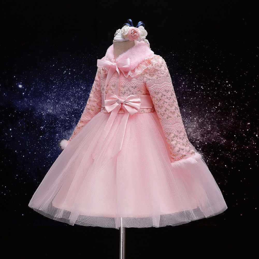 Модные зимние для девочек длинные рукава chicking кашемировое платье Прекрасный для маленькой принцессы вечернее платье Детская платье с бантом 17a801