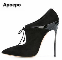 Sales brand metal thin heels stiletto sexy pumps lace up leather suede high heels pumps women black beige pointed toe shoes