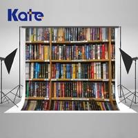 Kate Back To School Photography Retro Vintage Book Shelf Backdrop Book Case, Book Store Fabric Background Graduation Season