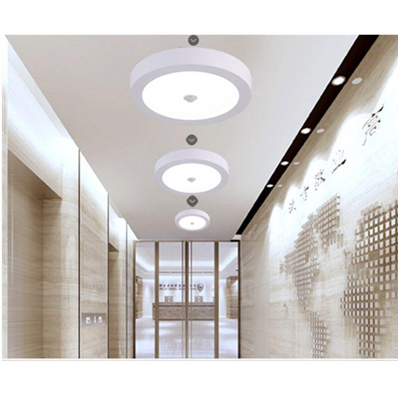 Potencia 2835 Led luces De Techo Superficie redonda Downlight LED foco para pasillo De Casa Sensor De movimiento Lamparas De Techo