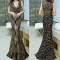 2016 New Women Sleeveless Gold Geometric Sequined Floor Length Long Dress Party Evening Elegant Summer Casual Dresses  Gown