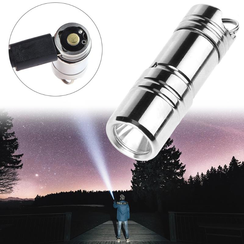 80LM Mini USB Rechargeable LED Flashlight Torch Stainless Steel Keychain Outdoor Survival Tool 10180 lithium battery white purple yellow light led flashlight stainless steel torch 18650 rechargeable uv torch olight jade identification