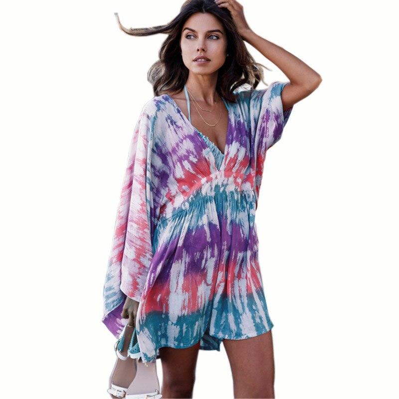 2017 New Summer Femmes Tops Plage Blouse Dames D\u0027impression De Mode Vacances  Kimono Manches Longues Col V Lâche Chemises Blusas