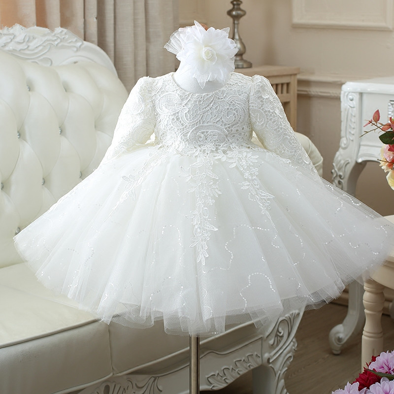 High Quality Red/White baby girls long sleeve 1 year old birthday dress sequin baptism christening wedding dress for infant high quality toddler girls dress christening dress for girl infant 2 4 year birthday dress for baby girl