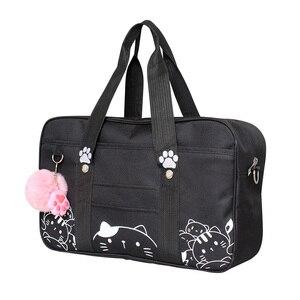 Image 4 - Bolso de uniforme JK de estilo japonés para mujer, bandolera de gato Kawaii a la moda, bolso de hombro de colegio Bolsa Bandolera de viaje
