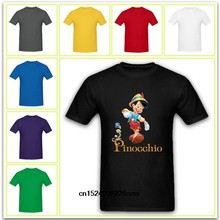 Pinocchio With Jiminy Cricket Cartoon T Shirt Round Neck Tops Casual Shirts Short Sleeves Tops For Men(China)