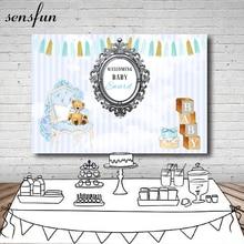 Sensfun תינוק מקלחת רקע לצילום סטודיו אור ורוד לבן פסים דוב כיסא מתנת יום הולדת מסיבת רקעים ויניל