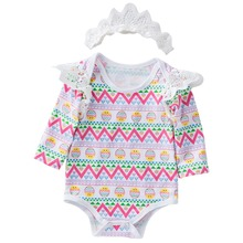2019 Fashion 2pcs Cute Baby Clothes Set Easter Eggs Romper Lace Long Sleeve Bodysuit Headband Outfit Newborn Baby Girls Clothing