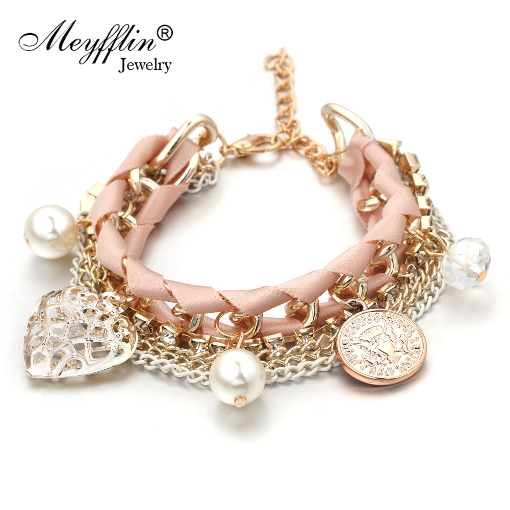 Bracelets For Women Fashion Simulated Pearl Heart Charm ...
